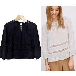 Aritzia Wilfred Armenia Lace Trim Boho Blouse